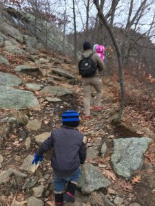 hiking in the cold as a family
